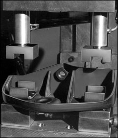 A Case History: Projection welding brackets to automotive frame assemblies is twice as fast with an Equa-Press dual tip holder. Lower welding fixture acts as an inspection device, so warped parts are discovered before welding. Inspection time and scrap loss are both reduced.